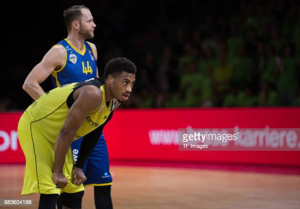 Lewis Trey of medi bayreuth looks on during the easyCredit BBL match between medi bayreuth and EWE Baskets Oldenburg at Oberfrankenhalle on May 5...