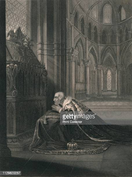 Lewis VII., King of France, Before Becket's Tomb', . King Louis VII of France kneeling in prayer at the tomb of St Thomas Becket in Canterbury...