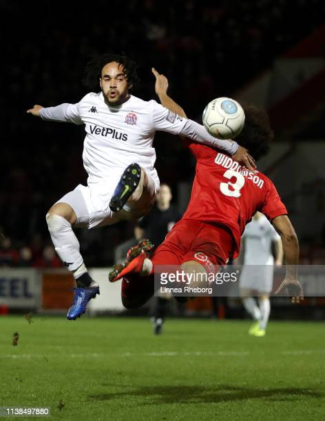 Lewis Walters of AFC Fylde clashes with Joe Widdowson of Leyton Orient during the Vanarama National League match between Leyton Orient and AFC Flyde...