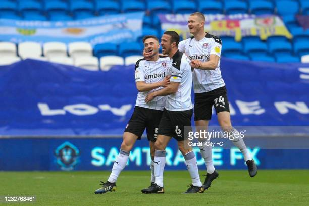 Lewis Wing celebrates scoring the first goal for Rotherham United during the Sky Bet Championship match between Cardiff City and Rotherham United at...