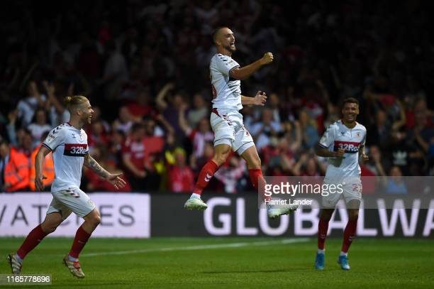 Lewis Wing of Middlesborough celebrates after scoring his team's third goal during the Sky Bet Championship match between Luton Town and...