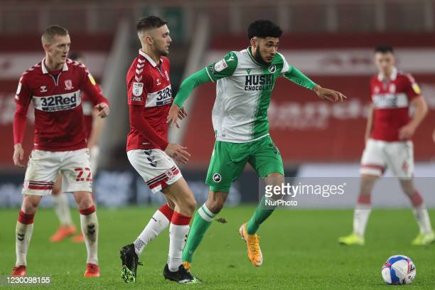 Lewis Wing of Middlesbrough and Millwall's Tyler Burey during the Sky Bet Championship match between Middlesbrough and Millwall at the Riverside...