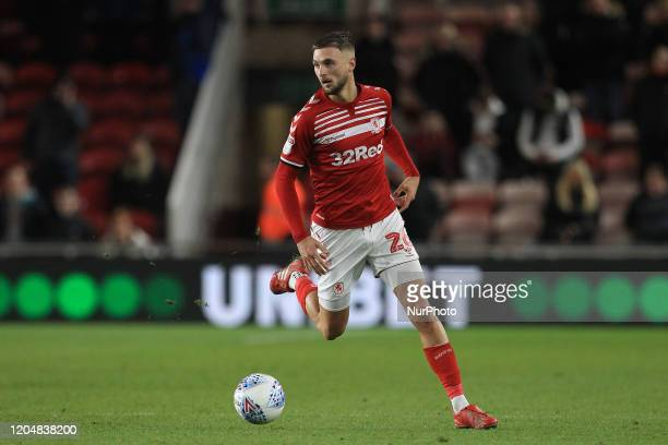 Lewis Wing of Middlesbrough during the Sky Bet Championship match between Middlesbrough and Nottingham Forest at the Riverside Stadium Middlesbrough...