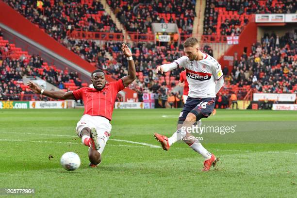 Lewis Wing of Middlesbrough in action during the Sky Bet Championship match between Charlton Athletic and Middlesbrough at The Valley London on...