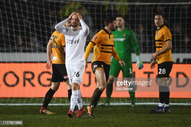 Lewis Wing of Middlesbrough reacts after a miss during the FA Cup Fourth Round Replay match between Newport County AFC and Middlesbrough at Rodney...