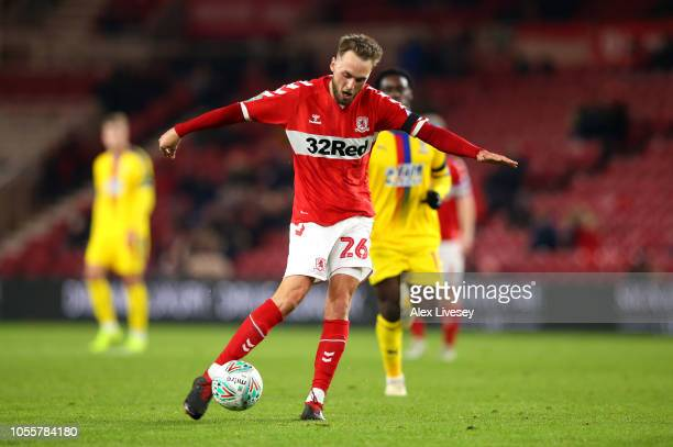 Lewis Wing of Middlesbrough scores his team's first goal during the Carabao Cup Fourth Round match between Middlesbrough and Crystal Palace at...