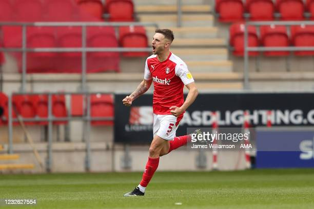 Lewis Wing of Rotherham United celebrates after scoring a goal to make it 1-1 during the Sky Bet Championship match between Rotherham United and...