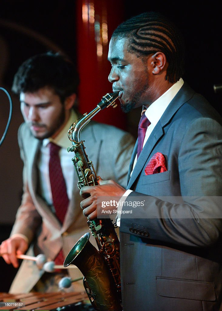 Lewis Wright and Nathaniel Facey of the band Empirical perform on stage at Pizza Express Jazz Club on February 4, 2013 in London, England.