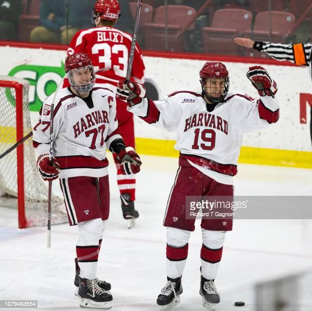 Lewis ZerterGossage of the Harvard Crimson celebrates his goal against the Boston University Terriers with teammate Jack Drury during NCAA hockey at...