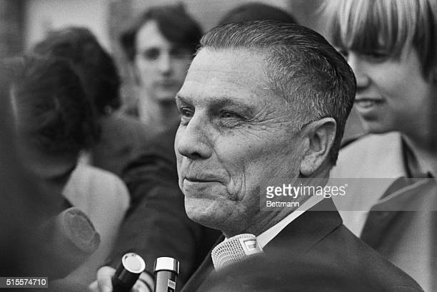 Lewisburg, PA: James Hoffa, former president of the Teamsters Union smiles as he chats with newsmen in front of the Federal Prison, after he was...