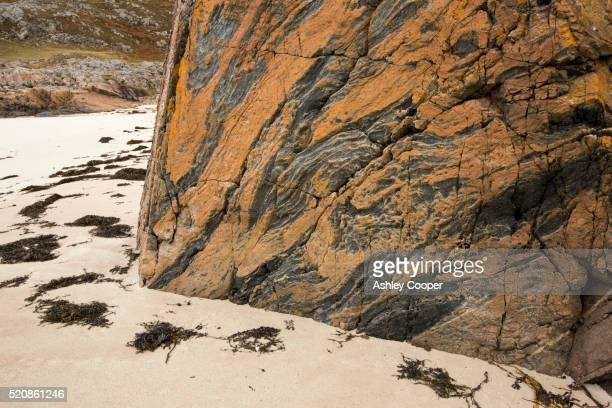 Lewisian Gneiss, some of the oldest rocks in the world at a small beach at Achmelvich