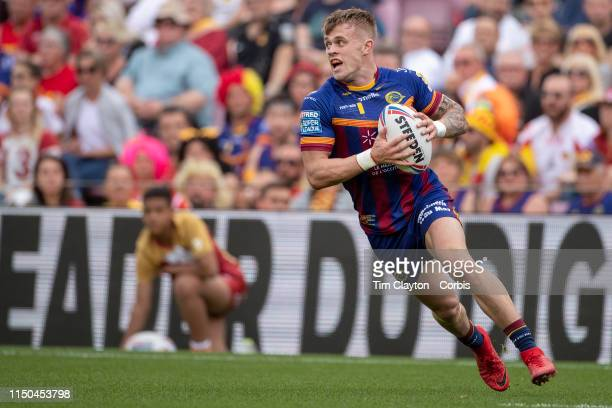 LewisTierney of Catalans Dragons in action during the Catalans Dragons V Wigan Warriors Betfred Super League regular season match at Nou Camp on May...
