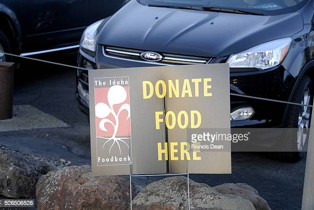 Lewiston Idaho state USA _Donate food her banner from The Idaho foodbank on 21st street 15 December 2014