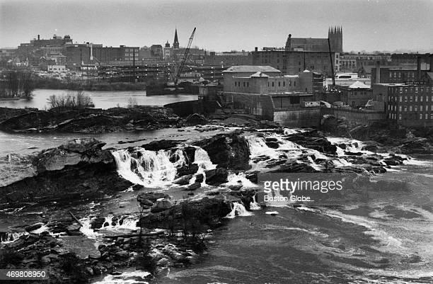 Lewiston ME as viewed from the Auburn side of the Androscoggin River on November 9 1989