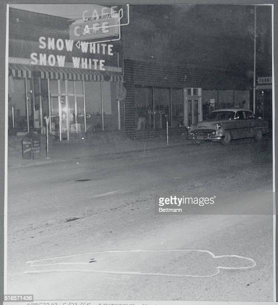 A chalked outline indicates the position of the body of Lewiston Lewiston McDonald after he was killed May 20th in a gun battle with Lewistown police...