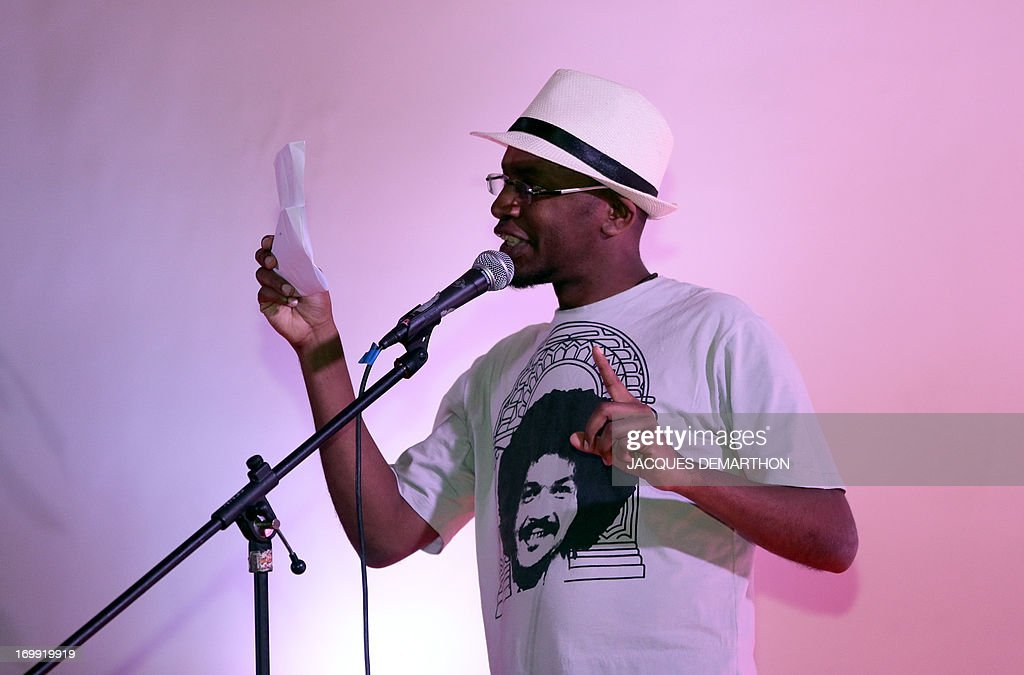 Lews Barbosa from Brazil takes part on June 4, 2013 in Paris in the first round of the World Cup of poetry slam held until June 9.