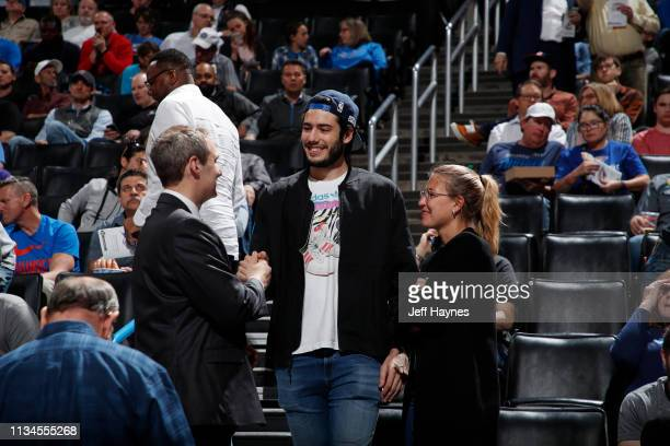 Álex Abrines attends a game between the Los Angeles Lakers and the Oklahoma City Thunder on April 2, 2019 at Chesapeake Energy Arena in Oklahoma...