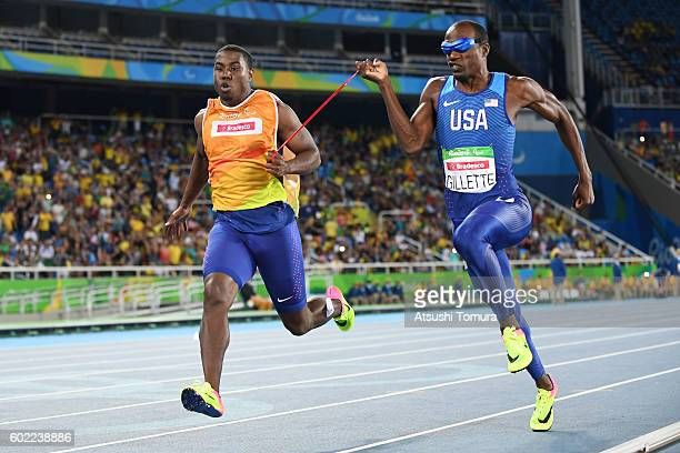 Lex Gillette of the USA competes in the men's 100m T11 semi final on day 3 of the Rio 2016 Paralympic Games at Olympic stadium on September 10 2016...