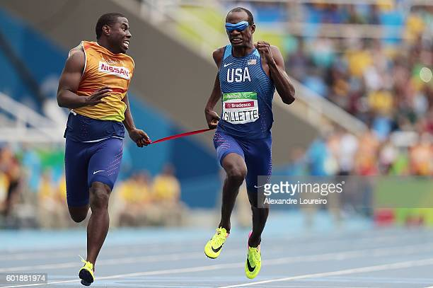 Lex Gillette of United States in action during the men's 100 meter T11 round 1 on day 3 of the Rio 2016 Paralympic Games at on September 10 2016 in...