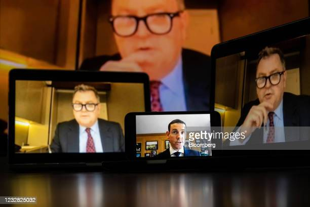 Lex Greensill, chief executive officer of Greensill Capital, foreground, gives evidence to Mel Stride, U.K. Member of parliament and chair of the...