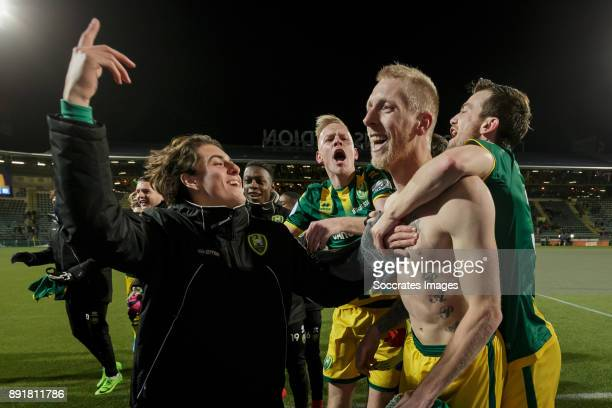 Lex Immers of ADO Den Haag celebrate the victory with Mats van Kins of ADO Den Haag Tom Beugelsdijk of ADO Den Haag Erik Falkenburg of ADO Den Haag...