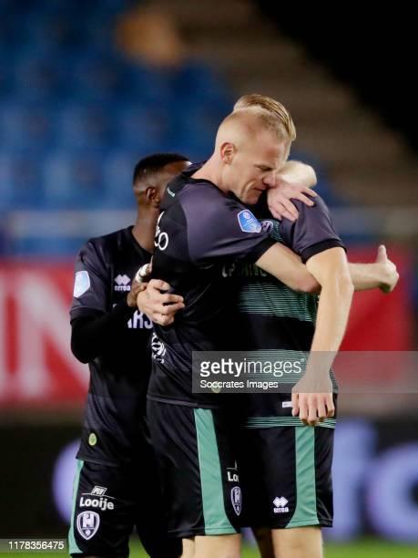 Lex Immers of ADO Den Haag celebrates 0-2 with Tom Beugelsdijk of ADO Den Haag during the Dutch Eredivisie match between Vitesse v ADO Den Haag at...