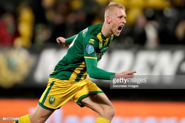 Lex Immers of ADO Den Haag celebrates 22 during the Dutch Eredivisie match between ADO Den Haag v Roda JC at the Cars Jeans Stadium on December 13...