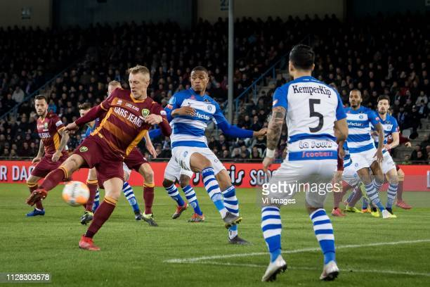 Lex Immers of ADO Den Haag Delano Burgzorg of De Graafschap Jordy Tutuarima of De Graafschap during the Dutch Eredivisie match between De Graafschap...