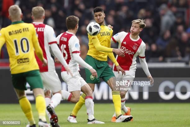 Lex Immers of ADO Den Haag Donny van de Beek of Ajax Carel Eiting of Ajax Bjorn Johnsen of ADO Den Haag Frenkie de Jong of Ajax during the Dutch...