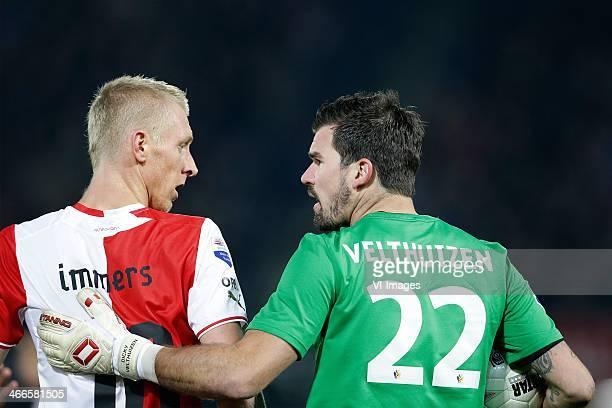 Lex Immers of Feyenoord Piet Velthuizen of Vitesse during the Dutch Eredivisie match between Feyenoord and Vitesse Arnhem at the Kuip on January 31...