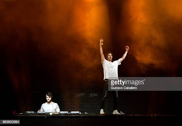 Lex Pall and Andrew Taggart of the band The Chainsmokers perform at CocaCola Music during the NCAA March Madness Music Festival 2017 on April 1 2017...