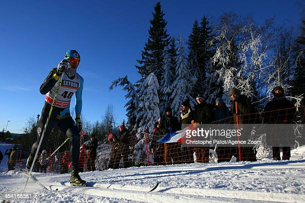 lexey Poltaranin of Kazakstan takes 2nd place during the FIS CrossCountry World Cup Men's 15km on December 07 2013 in Lillehammer Norway