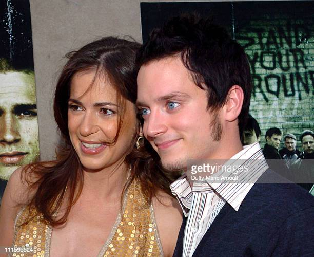 Lexi Alexander director and Elijah Wood during Green Street Hooligans New York Premiere at Union Square Stadium 14 in New York City New York United...