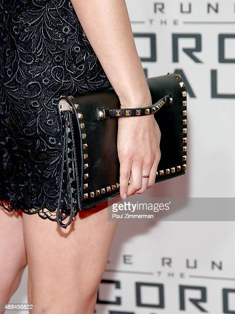 Lexi Atkins purse detail at Maze Runner The Scorch Trials New York Premiere at Regal EWalk on September 15 2015 in New York City