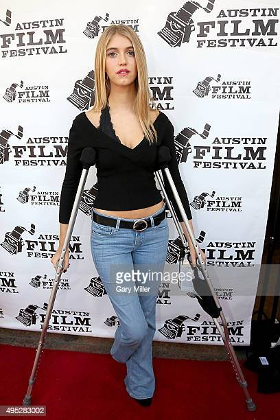 Lexi DiBenedetto on crutches while recovering from a car accident attends a screening of the new film 'Memoria' during the Austin Film Festival at...