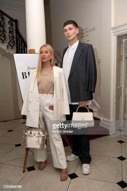 Lexi Fargo and Matthew Wickens at the Maison Bent AW20 Presentation at Pushkin House on February 06 2020 in London England
