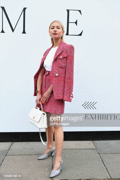 Lexi Fargo poses for a photo as she attends the London Fashion Week Womens Day One Fashion Show