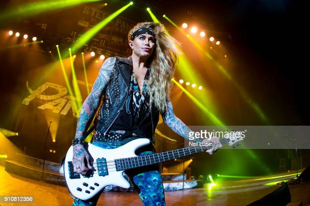 Lexi Foxxx of Steel Panther performs at Eventim Apollo Hammersmith on January 26 2018 in London England