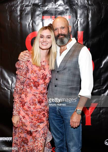 Lexi Johnson and Geoffrey Cantor attend The Girl Who Got Away Film Premiere at AMC Theater on August 19, 2021 in New York City.