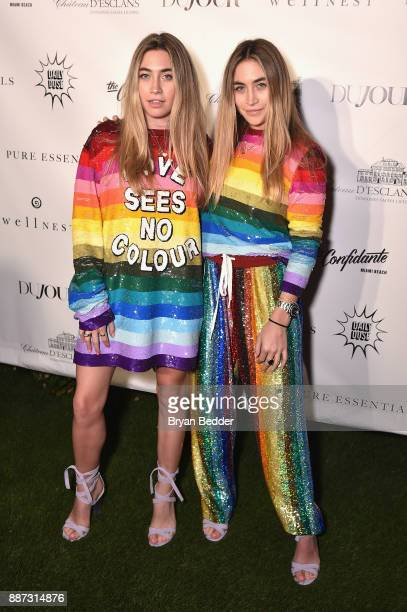 Lexi Kaplan and Ally Kaplan attend DuJour's Jason Binn And WellNEST Celebrate Miami Beach's Art Basel KickOff at The Confidante on December 6 2017 in...