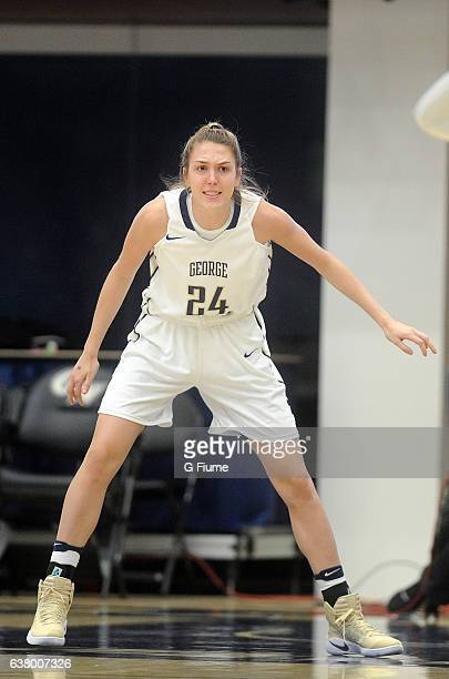 Lexi Martins of the George Washington Colonials defends against the Virginia Commonwealth Lady Rams at Charles E Smith Athletic Center on December 2...