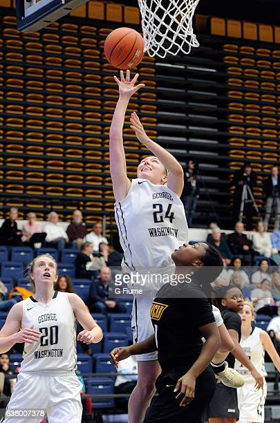 Lexi Martins of the George Washington Colonials shoots the ball against the Virginia Commonwealth Lady Rams at Charles E Smith Athletic Center on...