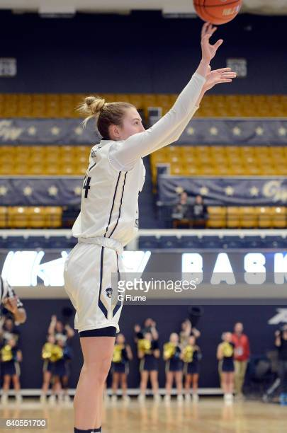 Lexi Martins of the George Washington Colonials shoots the ball against the Duquesne Lady Dukes at Charles E Smith Athletic Center on January 29 2017...