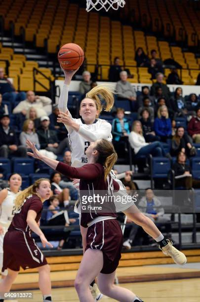 Lexi Martins of the George Washington Colonials shoots the ball against the Fordham Lady Rams at Charles E Smith Athletic Center on February 1 2017...