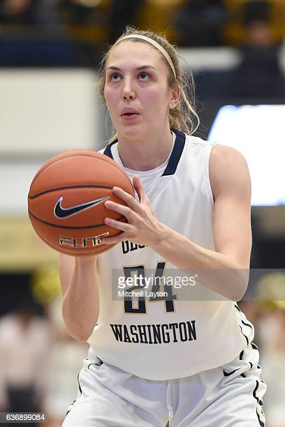 Lexi Martins of the George Washington Colonials takes a foul shot during a college basketball game against the Stanford Cardinal at the Smith Center...