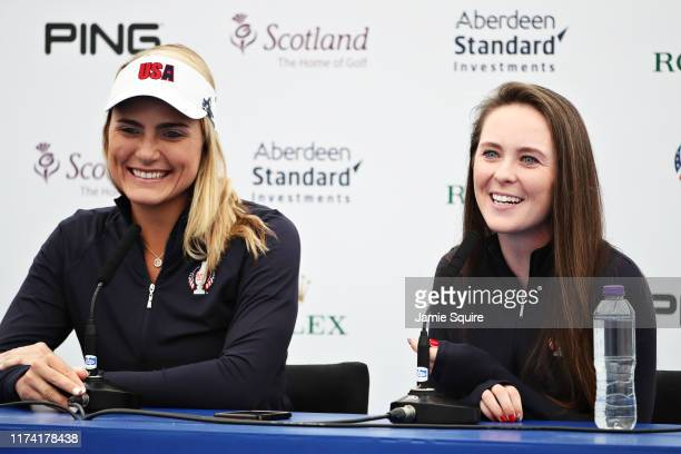 Lexi Thompson and Brittany Altomare both of Team USA talk in a press conference during Preview Day 4 of The Solheim Cup at Gleneagles on September 12...