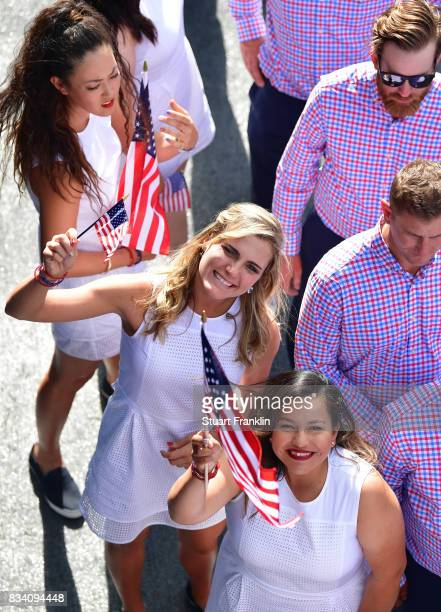 Lexi Thompson and Lizette Salas of Team USA celebrate during the opening ceremony prior to the start of The Solheim Cup at Des Moines Golf and...