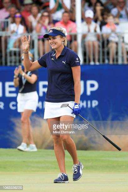 Lexi Thompson celebrates on the 18th green after winning the LPGA CME Group Tour Championship at Tiburon Golf Club on November 18 2018 in Naples...