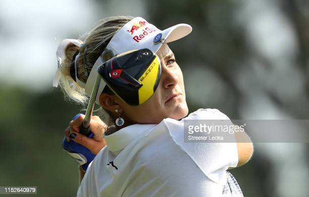 Lexi Thompson hits a tee shot on the 15th hole during the first round of the US Women's Open Championship at the Country Club of Charleston on May 30...