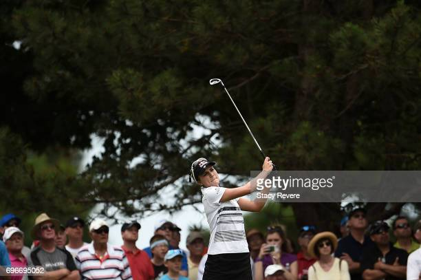 Lexi Thompson hits her tee shot on the second hole during the second round of the Meijer LPGA Classic at Blythefield Country Club on June 16 2017 in...